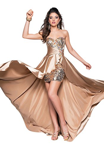 Beauty-Emily Pailletten Strapls Strass Openside Cocktailparty-Kleider Lange formale Abendkleider Champagner