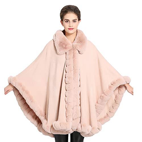 ChYoung Faux Fur Jacken für Frauen Mädchen Damen Furry Cape Coat Wrap Sleeved Mäntel Winter Outfits Warme (Pink Furry Kostüm)