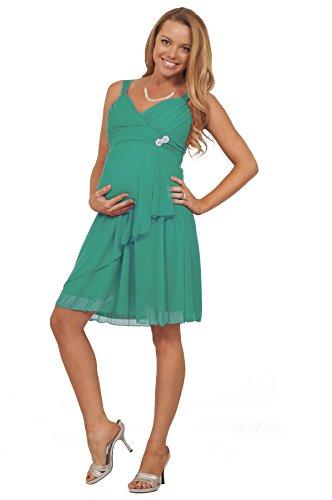 Maternité genou Flowy haut V-Neck Halter strass courte robe de soirée enceinte mer tropicale vert