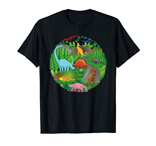 Dinosaurier-Dschungel-Szenen-Geburtstags-Mamma-Vati-Crew T-Shirt