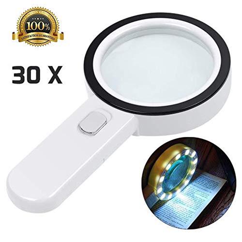 30X Lupe mit Licht Handheld Beleuchtete Lupe Doppelglaslinse 12 LED Lampe Lupen für Senioren Lesen