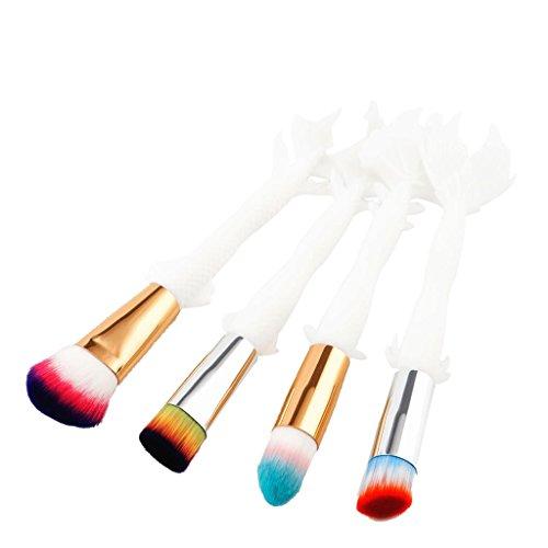 MagiDeal 4pcs Brosse à Maquillage Pinceaux Cosmétique pour Poudre de Fondation Fond de Teint Contour Correcteur Anti-cernes