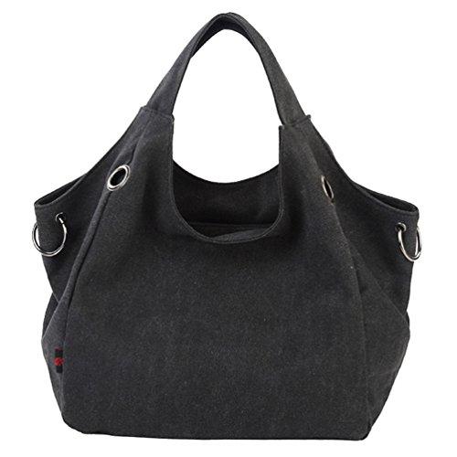 Zkoo Ladies Girls Borsa Da Scuola Borsa Vintage Canvas Tote Bag Borsa A Tracolla Shopper Per Il Tempo Libero Nero