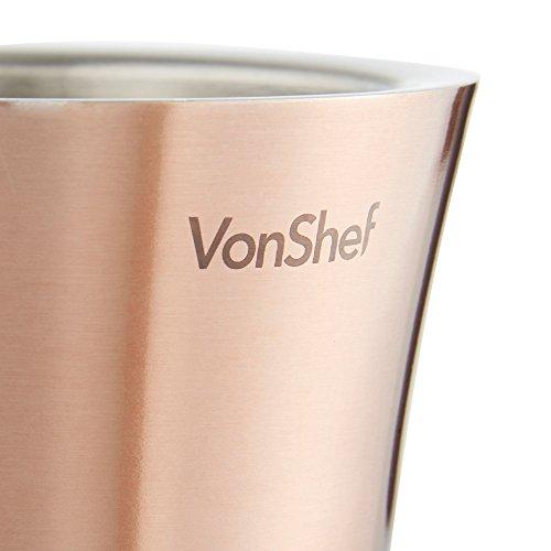 VonShef Weinkuehler Edelstahl doppelwandiger Weinkühler Kühler Halter (Kupfer) - 4