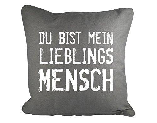 GD-designs Dekokissen Du Bist Mein Lieblingsmensch Kissenbezug Kissenhülle 45cm x 45cm