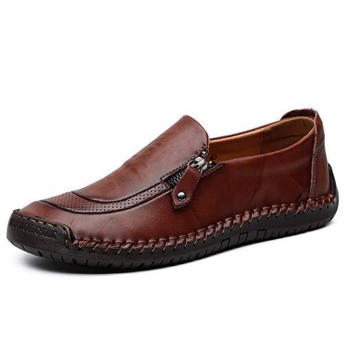 Mann Driving Loafer Casual Leder weiche Sohle atmungsaktiv Faule Person große Größe Boot Mokassins,Grille Schuhe (Color : Red Brown, Größe : 41 EU)