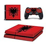 Playstation 4 Konsole + 2 Controller Design Schutzfolie Skin Faceplates Schutz Folie Motiv Albanien PS4 PS 4 ( Herstellung in Deutschland )