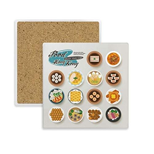 DIYthinker Coaster Hong Kong Plaza Foodie de China Taza de la Taza Titular de Piedra Absorbente para Regalo Bebidas 2pcs