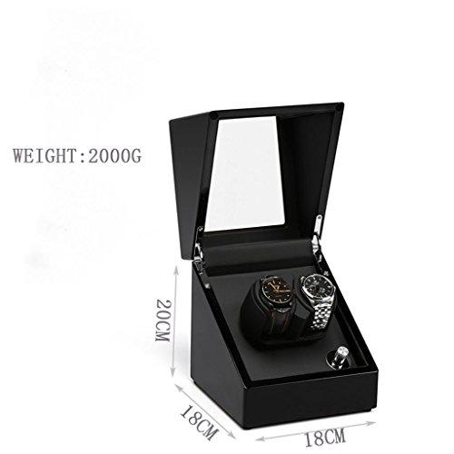 ADFHGFJ Handgefertigte Uhr Winder/Shaking Watch Box/Mechanische Uhr Box/Automatik Uhr Motor Box/Klavier Farbe Ruhig mit 5 Denken der Rotation Prozeduren, Schwarz, 2+0