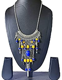 AyA Fashion Designer Antique Oxidised German Silver Metal Necklace With Blue And Yellow Beads | Gypsy Style Fusion...