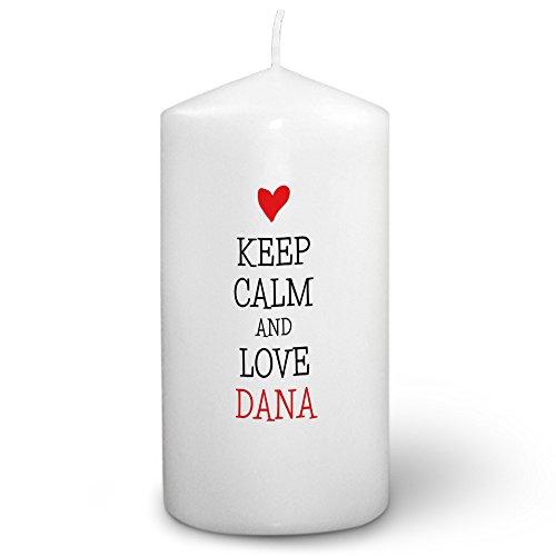 Dana Kerze (Kerze mit Namen Dana - Fotokerze mit Design Keep Calm - romantische Wachskerze, Taufkerze, Hochzeitskerze, Stumpenkerze)
