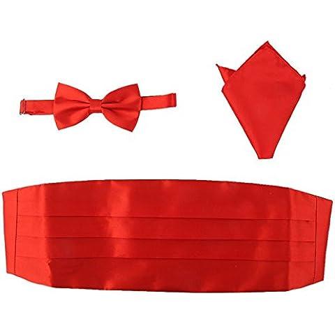 Pixnor Sistema de pajarita de los hombres pajarita raso faja pañuelo de 3pcs rojo