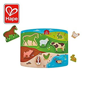 Hape International- Hape Farm Puzzle & Play Puzle Encajable Animales Granja,, 5