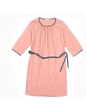 CHUNHUA Ms. casuali pigiama tuta manica modali camicia da notte grandi cantieri , pink , l (160/84a)