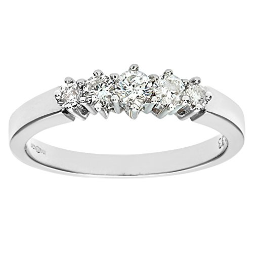 Naava Women's 9 ct White Gold 0.33 ct Diamond Graduated Eternity Ring, White Gold, N