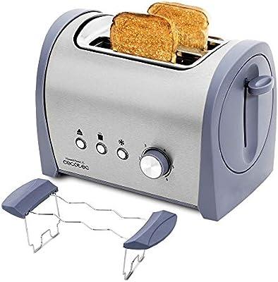 Cecotec Tostadora Acero Steel&Toast 2S. 6 Niveles de Potencia, Capacidad para 2 Tostadas, 3 Funciones(Tostar, Recalentar, Descongelar), Incluye Soporte Panecillos, Bandeja Recogemigas, 800 W
