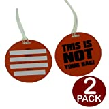 BRAND NEW 2 PACK ORANGE LUGGAGE TAGS - 'THIS IS NOT YOUR BAG' - FUNKY LUGGAGE TAGS - PLASTIC
