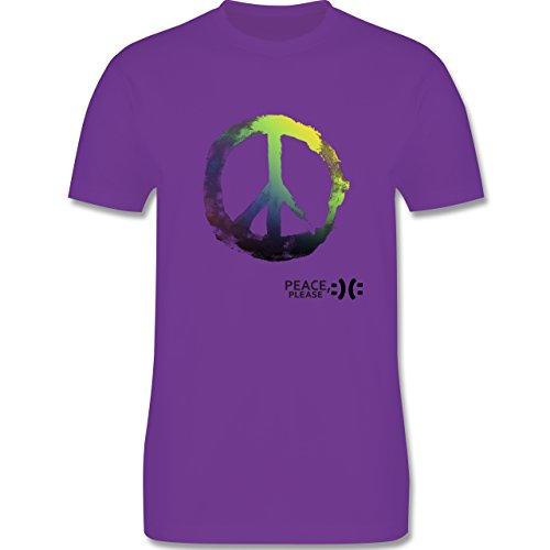 Statement Shirts - Frieden, bitte - Peace, please - Peacesymbol bunt - Herren Premium T-Shirt Lila