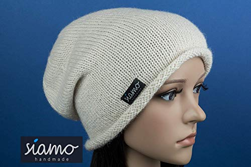 Ganzjahres-Mütze TALARA Unisex 100% Baby-Alpaka natur (wollweiß) Beanie von siamo-handmade - Weiße Standard-haube