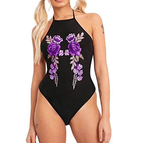 Bestickte Dessous-set (ALISIAM Frauen Verbundene Unterwäsche Nachtwäsche Bodysuit Versuchung, Sexy Dessous Bestickte einfarbige Dessous lila bestickten Blumen)