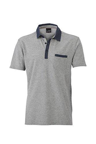 JN990 Mens Polo Herren Poloshirt Polohemd James & Nicholson, Farbe:Grey Melange-Dark Denim;Größen:XXL