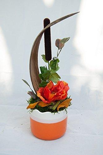 Gesteck mit Mohn und Cocosblatt - Tischdekoration mit künstlichen Blumen