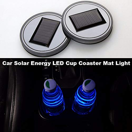 2X Auto Solar Cup Holder Boden Pad LED Licht Abdeckung Trim Atmosphäre Lampe Lichter (Color : Blau) ()