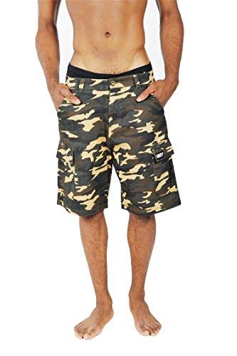 Pizoff Unisex Hip Hop Camouflage Tarnung tarnmuster Cargo Shorts funktionale Taschen geknöpfter Schlitz (Passform-jeans-latzhose)