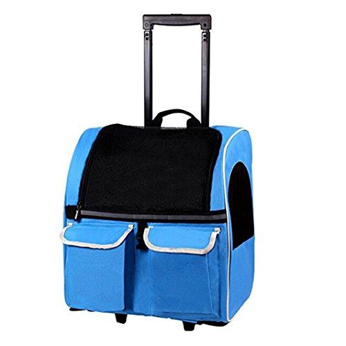 Meiying - trasportino 4 in 1su ruote, per animali domestici, adatto a cani e gatti, convertibile in zaino da viaggio e borsa a spalla, approvato dalle compagnie aeree