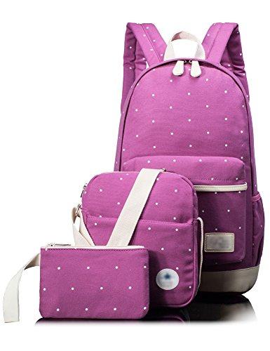 Leaper Girls Canvas Backpack Cute School Laptop Travel Backpack Shoulder Hand Bag Purse for Boys 3PCS Purple