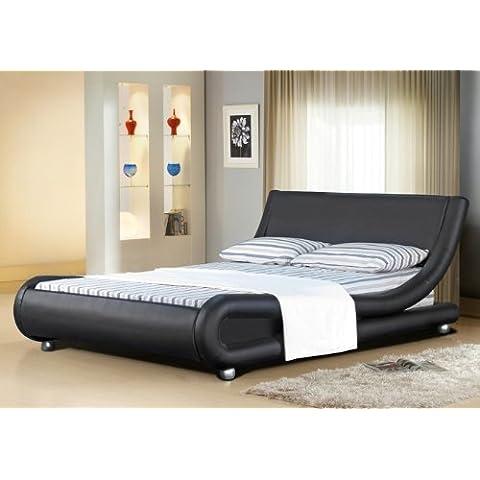 Italiano–Funda de piel sintética para cama de matrimonio Mallorca, marrón, 4 pies doble
