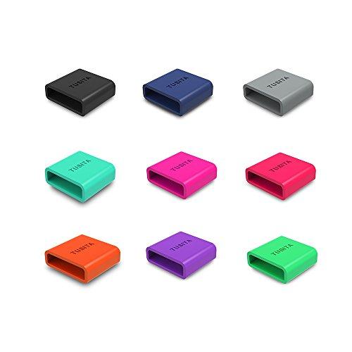 TUSITA® 9-PACK Silikon Fastener Ring für Samsung Gear Fit 2 / Garmin Vivofit 1 /Garmin Vivofit 2 Loop Keeper Locking Schließe