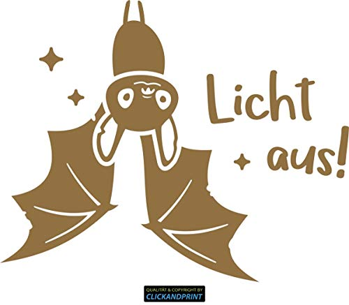 CLICKANDPRINT  Aufkleber » Fledermaus Licht Aus!, 10x8,0cm, Gold Metallic • Dekoaufkleber/Autoaufkleber / Sticker/Decal / Vinyl