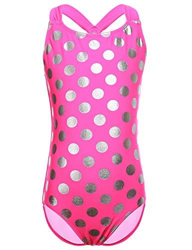 Heiße Bikini-badeanzug (DUSISHIDAN Mädchen Bademode Badeanzüge für Kinder Einteiliger Rosa Bikini Heiße Silberne Punkte M)