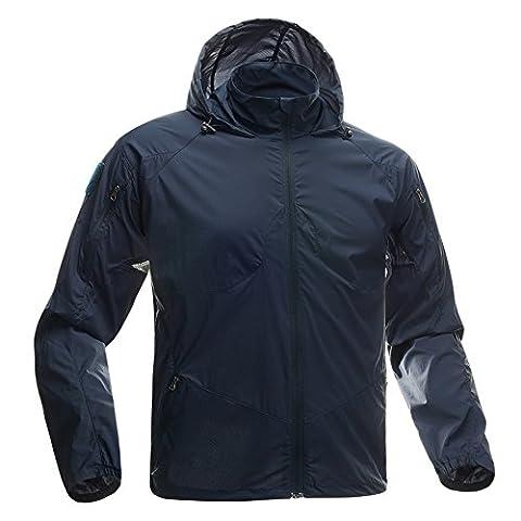 leichte Jacke Fashion Dünn Windbreaker Reißverschluss Mäntel Quick Dry Haut Fell (blau M)