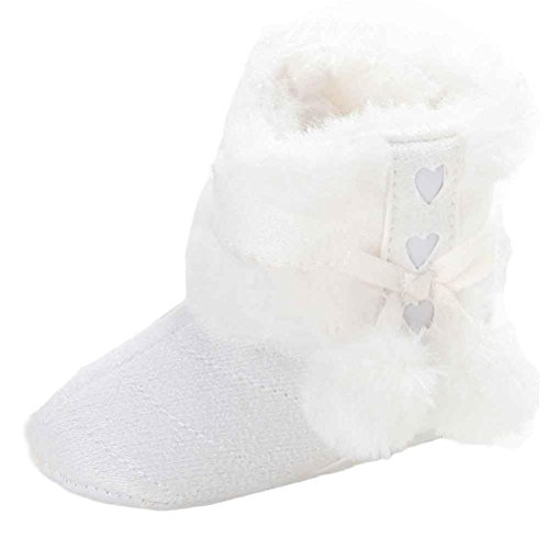 kingko® Baby-Pelzkugel Schnee Dekor Winterstiefel Hallenboden Anti-Rutsch-Säuglingsschuhe Weiß