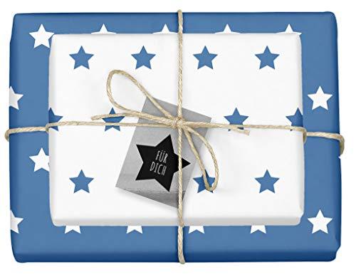 """4x zweifarbiges Geschenkpapier\""""Weihnachten: Sterne blau-weiß\"""" + 4x Anhänger\""""edel, silber-schwarz\"""" (doppelseitige Bögen DIN A2, Öko-Recycling-Papier)"""