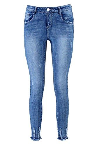 Femmes Bleu Julie Jean Skinny Taille Haute À Ourlet Déchiré Bleu