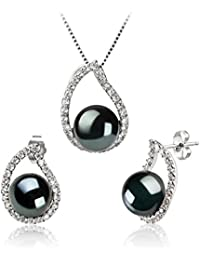 PearlsOnly - Isabella Black 9-10mm Freshwater 925 Sterling Silver Cultured Pearl Set