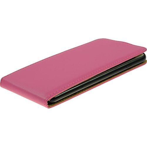 PhoneNatic Kunst-Lederhülle für Apple iPhone 7 Plus Flip-Case schwarz Tasche iPhone 7 Plus Hülle + 2 Schutzfolien Pink