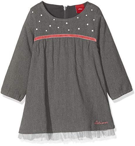 s.Oliver Baby-Mädchen Kleid 65.809.82.2757, Grau (Dark Grey Melange 9722), 86