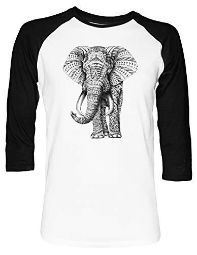Florido Elefante Unisex Camiseta De Béisbol Manga 2/3 Hombre Mujer Blanca Negra