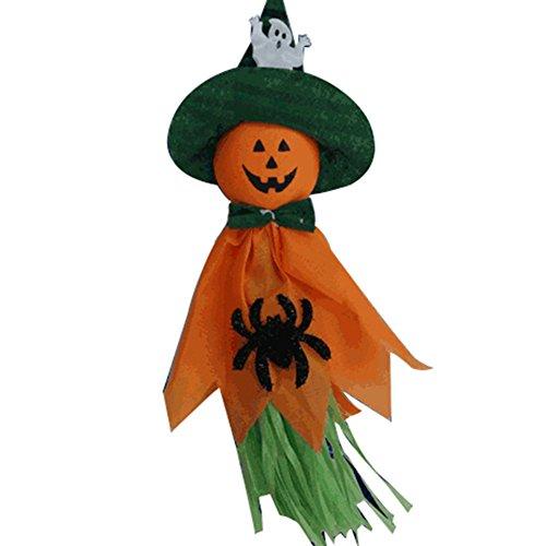 gloryhonor Kürbis Vogelscheuche Dangler zum Aufhängen Halloween Prop Party Haunted House Dekoration–Weiß, Stoff, Orange, 36cm x 17cm/14.17