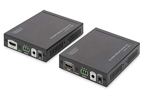 DIGITUS HDMI Extender Set, Reichweite 100 m, HDBaseT, HDCP 2.2, UHD 60 Hz, IR und RS232 (bidirektional), PoE/PoH, Punkt zu Punkt Verbindung, Schwarz Professional 6 Hdmi-kabel