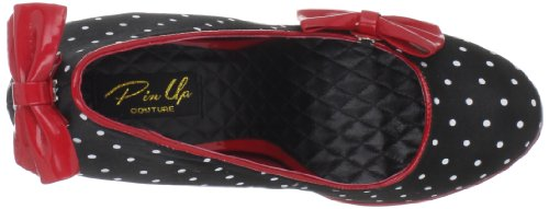 Pleaser Secret-12, Scarpe con Tacco Donna Nero (Black (Blk Satin-Red Pat (Polka Dots Print)))