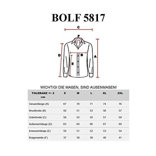BOLF - Chemise casual – manches longues - à carreaux – BOLF 5817 - Homme Bleu moyen