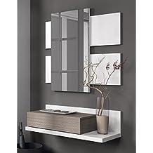 Habitdesign 0B6742BO - Recibidor con cajón +espejo, color Blanco Brillo y Fresno, medidas: 75 x 116 x 29 cm de fondo