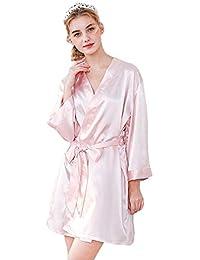 Forall-Ms Batas Personalizadas De Seda, Bata De Estilo Kimono para Mujer Vestidos De