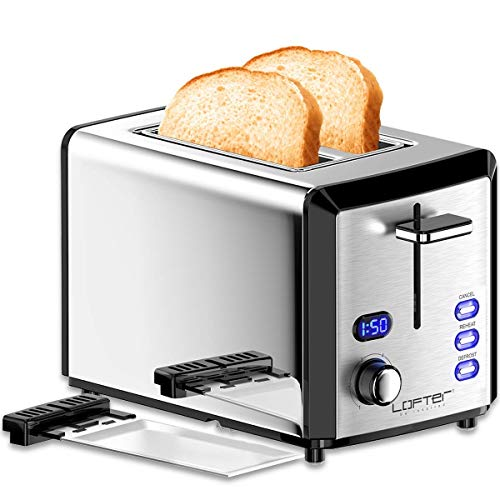 LOFTER 2 Scheiben Toaster Edelstahl Spiegel mit LED Countdown Anzeige 800W, Breit Schlitz, 6 Bräunungsstufen, Brotzentrierung, Krümelschublade, Auftau, Aufwärm Stopp Funktion