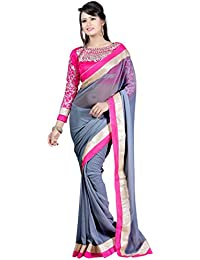 Om Designer Latest stylish Chiffon Grey Saree for Women With Embroidered Blouse Material-Latest -#01